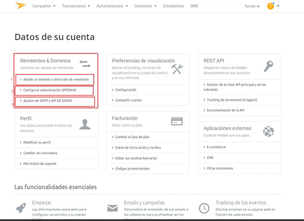 configuración de la cuenta mailjet, agregar dominios, registro SPF/DKIM y la api smtp que necesitaremos.