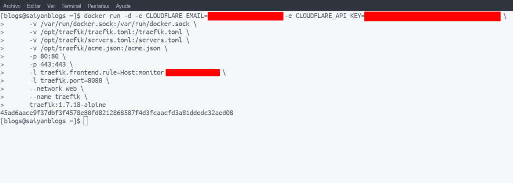 Traefik como proxy inverso para docker con SSL- ejecución de comando de despliegue