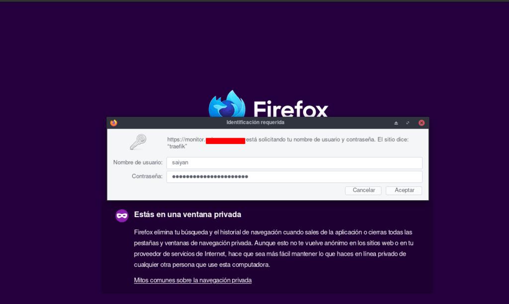 Traefik como proxy inverso para docker con SSL - petición de credenciales para acceder al monitor del traefik