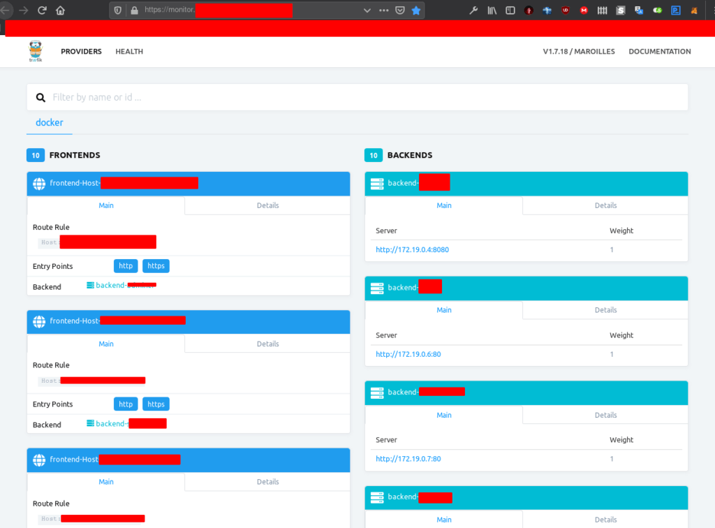 Traefik monitor como proxy inverso para docker con SSL