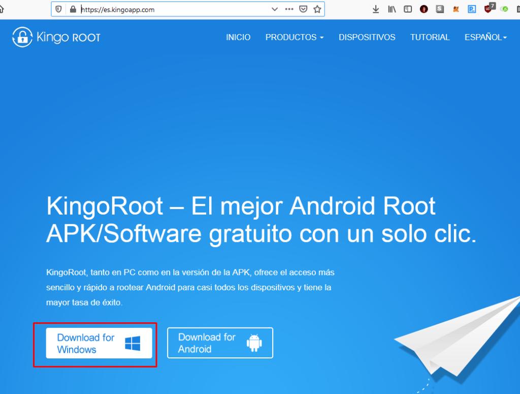 Descarga de kingo root y para luego proceder con el unlock