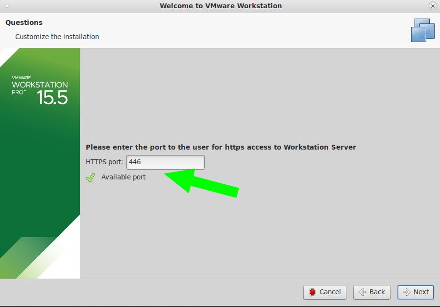 Configurando el puerto para VMware Workstation.