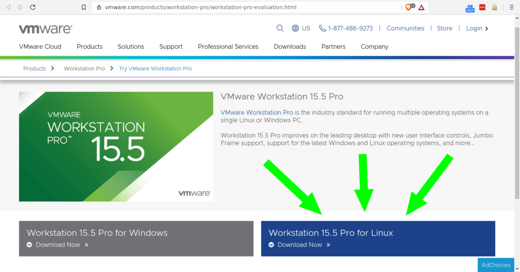 Descargando el instalador de VMware Workstation.