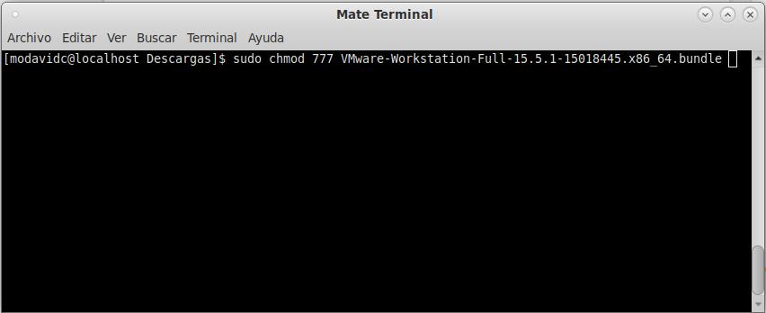 Terminal Fedora 31: Otorgando permisos al instalador.
