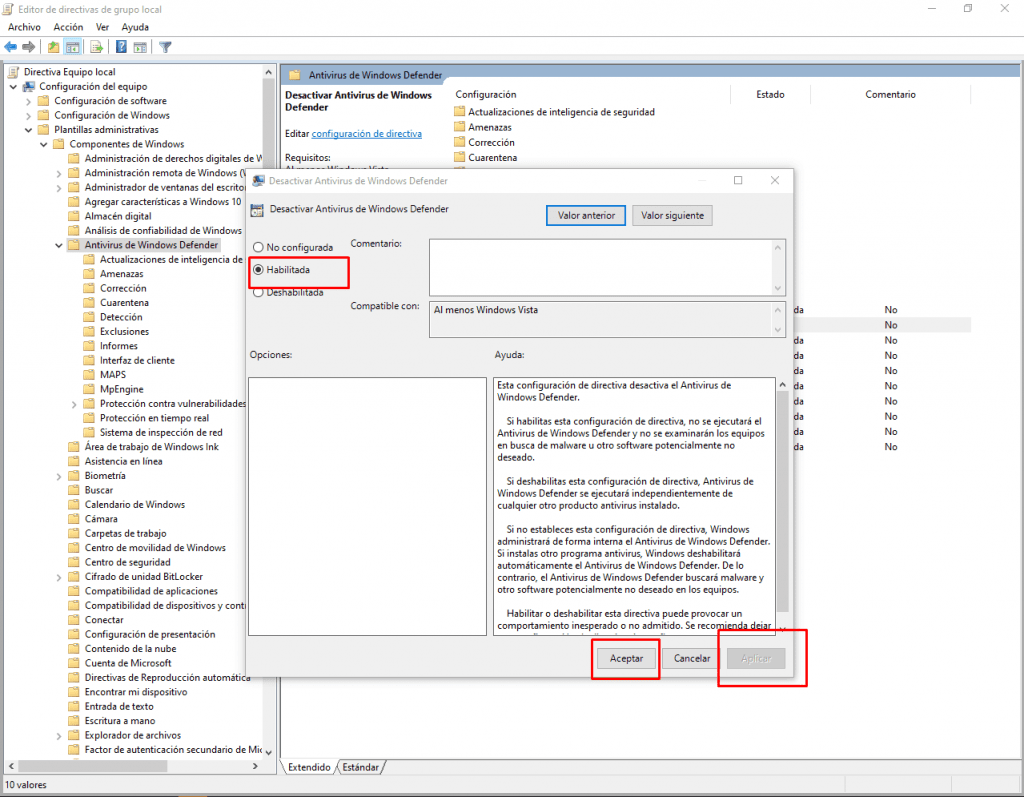 Desactivar Antivirus de Windows Defender