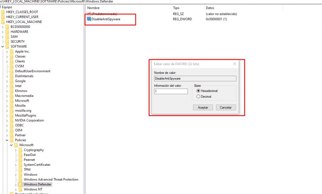 Desactivar Windows Defender - DisableAntiSpyware
