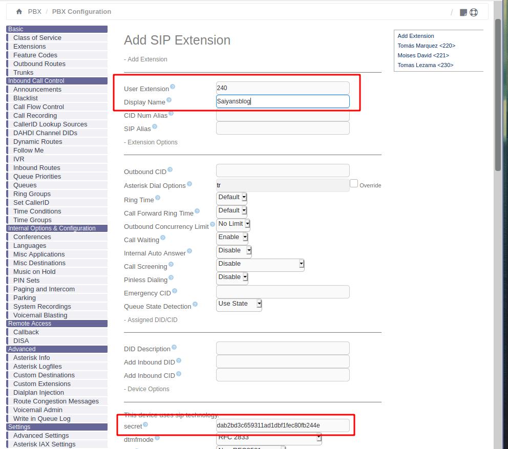 Issabel and elastix extension add menu